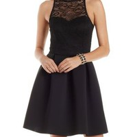 Black Lace & Scuba Knit Mock Neck Skater Dress by Charlotte Russe