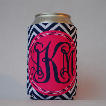 Personalized Can Sleeve - Navy & White Chevron