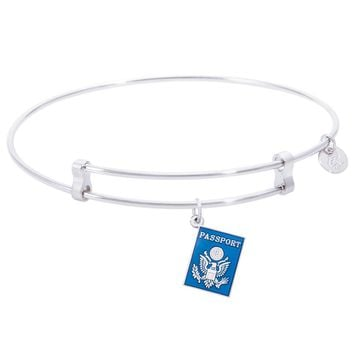 Sterling Silver Confident Bangle Bracelet With Passport Charm