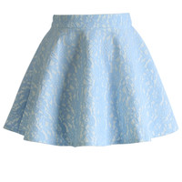 Full Flower Lace Skater Skirt in Blue Blue