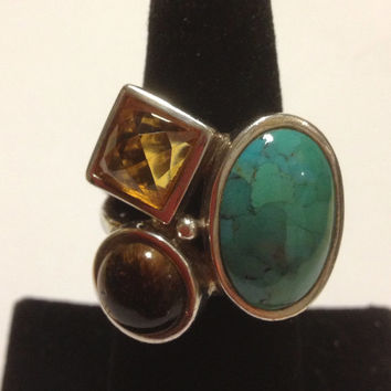 Barse Turquoise Citrine Ring Sz 8 Tigers Eye 925 Sterling Silver  Vintage Southwestern Jewelry Christmas Xmas Holiday Birthday Gift Boho