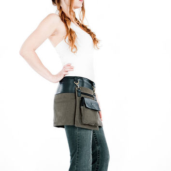 Mini leather canvas skirt black leather with by Shovavaleather