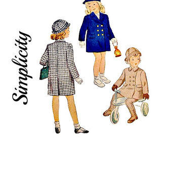 Vintage 40s Child's Double Breasted Coat Pattern Hat Leggings Suspenders Ear Muffs Uncut Printed Simplicity 2203 Sewing Patterns Size 2