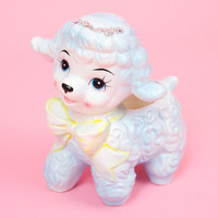 Vintage Kitsch Lamb Nursery Planter for Baby Shower w Yellow Bow Very Cute
