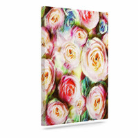 """Dawid Roc """"Pastel Rose Romantic Gifts"""" Green Photography Canvas Art"""