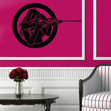 Military Wall Decals Woman Girl Killer Sniper Gun Pistol Weapon Vinyl Decal Sticker Home Art Decor Interior Design KG435