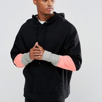 ASOS Oversized Hoodie With Colour Blocking To Arms at asos.com