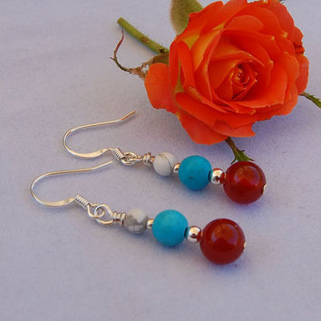 Handmade Turquoise, Carnelian & White Buffalo Stone Earrings