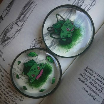 Bulbasaur grass attack plugs, handdrawn pokemon plugs in 14mm and up