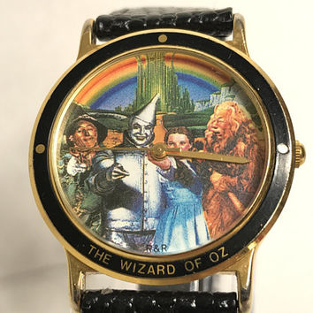 Vtg WIZARD OF OZ Collectible Watch / 90s Turner Entertainment 1992 / Leather Band Gold Case Stainless Steel / Dorothy Tin Man Scarecrow Lion