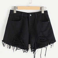 Ripped Frayed Hem Denim ShortsFor Women-romwe