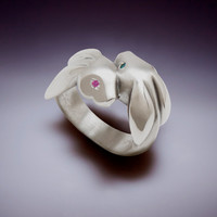 bunny love ring, sterling with blue and pink sapphire eyes