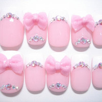 3D Bows Pink&White French by ohimenail on Etsy