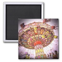 Vintage retro pink sky carnival swing ride photo magnet