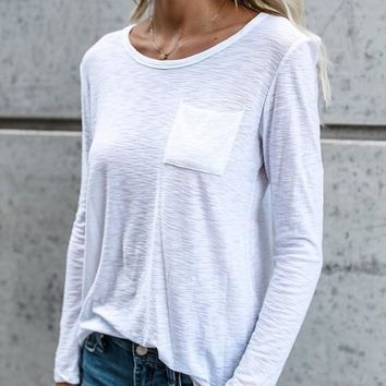 White Plain Pockets Round Neck Casual T-Shirt