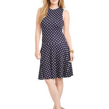 Lauren Ralph Lauren Plus Polka Dot Drop Waist Dress
