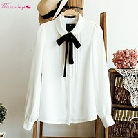 WEIXINBUY 2017 Korean Women Elegant Bow Tie White Blouses Chiffon Casual Shirt Office Ladies Tops School Blusas Female Clothing