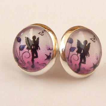 Round stud earrings in silver with silhouettes fairy in pink black II, Fantasy Studs, fairytale Earrings, girls earrings, Fairy Earrings