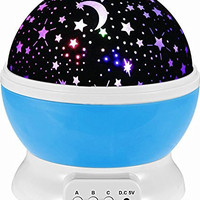 Sun And Star Lighting Lamp 4 LED Bead 360 Degree Romantic Room Rotating Cosmos Star Projector With 59 Inch USB Cable, Light Lamp Starry Moon Sky Night Projector Kid Bedroom Lamp for Christmas (Blue)