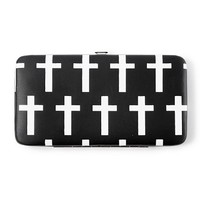 Black and White Cross Hardcase Wallet  | Claire's