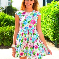 Bright Floral Print Dress with Cinched Waist & Cap Sleeves