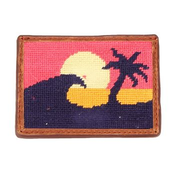 Sunset Surfing Needlepoint Credit Card Wallet by Smathers & Branson