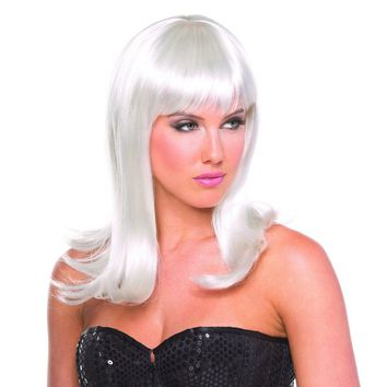 White Solid Color Hollywood Bangs Wig