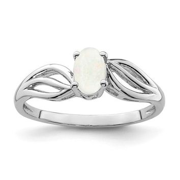 Sterling Silver Created White Opal Ring