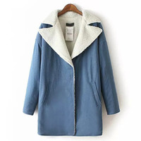 Blue Back Love Heart Embroidery Woolen Coat