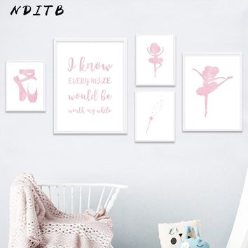 NDITB Baby Girl Nursery Wall Art Canvas Decor Posters Print Cartoon Dance Painting Wall Picture Nordic Kids Bedroom Decoration