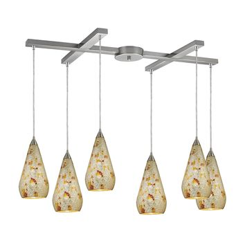 546-6SLVM-CRC Curvalo 6 Light Pendant In Satin Nickel And Silver Multi Crackle Glass - Free Shipping!