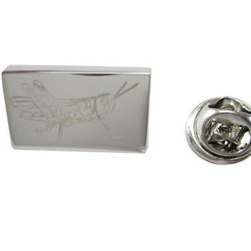 Silver Toned Etched Grasshopper Locust Insect Lapel Pin