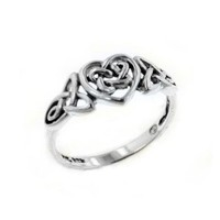 Sterling Silver Celtic Trinity Knot Heart Ring Size 10(Sizes 3,4,5,6,7,8,9,10,11,12,13,14,15,16)