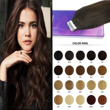 50G Skin Weft Human Hair Tape in Extensions Cheap Best Natural Human Hair 20pcs