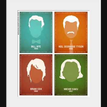 Science Art, 11x14 Silhouette Scientists, All Four in One Art Print -  Bill Nye, Neil deGrasse Tyson, Michio Kaku, Brian Cox Science Quotes