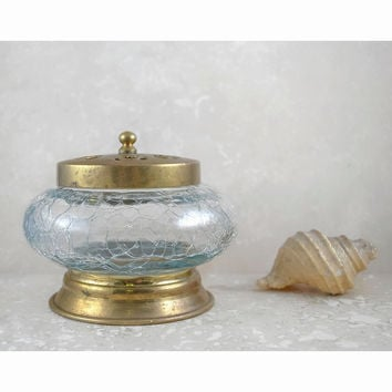 Vintage Hair Receiver / Jewelry Box Dish / Decorative Jar with Lid / Crackle Glass Brass Floral Cut Out / Bed and Bath Decor