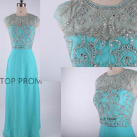 Chiffon Prom Dress Long Bridesmaid Dress Homecoming Dress Long Prom Dress Cocktail Dress Mint dress evening dress beading dress