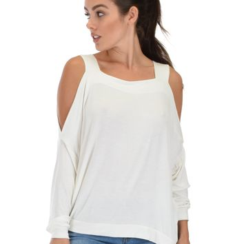 Lyss Loo Lyss Loo Little Wonder Cold Shoulder Draped Ivory Top