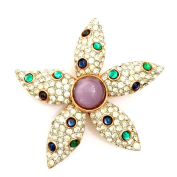 Mandle Starfish Brooch, Purple Moon Glow Pave Ice Crystal and Mirrored Cabochon, Gold Tone, Vintage Figural Brooch, Designer Signed