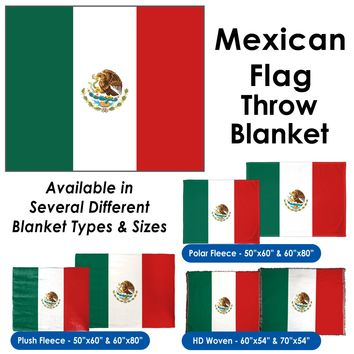Mexican Flag Throw Blanket / Tapestry Wall Hanging