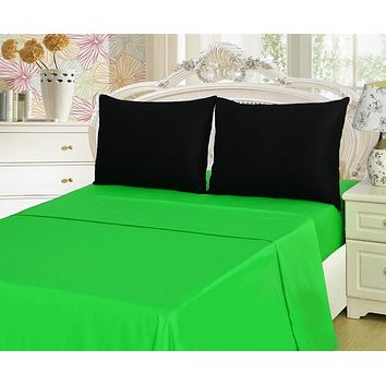 Tache 3-4 Pieces Lime Green & Black Bed sheet Set (TABS4PC-BG)