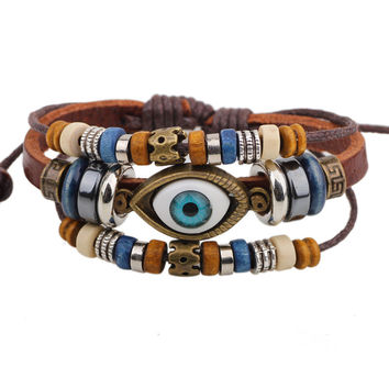 Evil Eye Leather Bracelet Colorful Enamel Charm Gold Stainless Steel Chain Cuff Bangles Friendship Wristband Women Men Jewelry