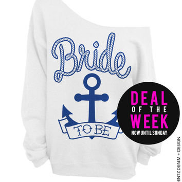 Anchor Bride - White with Blue Off The Shoulder Slouchy Sweatshirt