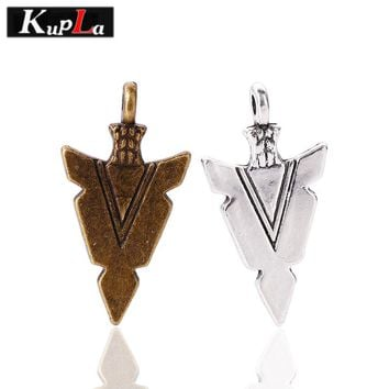 Kupla Vintage Arrow Charms DIY Design Arrow Charms for Jewelry Making Metal Arrowhead Charms 15*30mm 40pcs/lot C5508