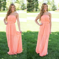Sweet As A Peach Maxi Dress