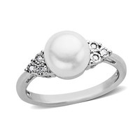 Cultured Freshwater Pearl and Diamond Accent Ring in Sterling Silver - View All Rings - Zales