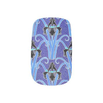 Art nouveau black and purple iris nail art