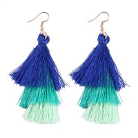 Triple Tassel Dangle Earrings in Cool Blue and Green