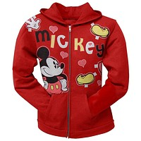 Mickey Mouse - Hearts Girls Juvy Zip Hoodie
