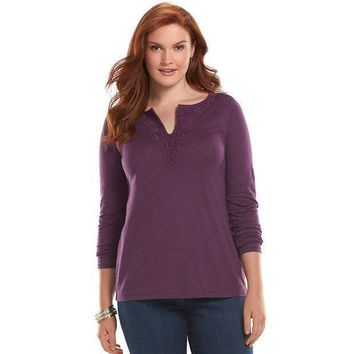 Chaps Crochet Slubbed Top   Women's Plus Size Size: